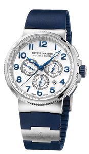 MARINE CHRONOGRAPH 25 JEWEL SW 43MM WR 100M WHITE DIA BLUE RUBBER/TITANUIM STRAP