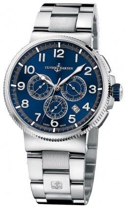 MARINE CHRONO 25 JEWEL SW TITANUIM/ STEEL CASE 43MM WR 100M BLUE DIAL BRACELET