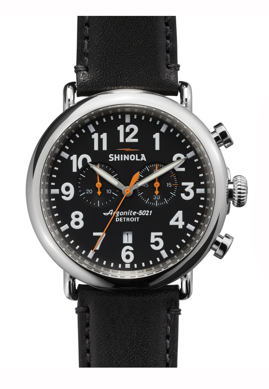 runwell chrono 47mm ss matte blk dial 24mm blk leather strap
