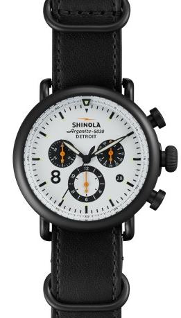 RUNWELL CHRONO CONTRAST 41MM PVD BLK PLATING WH DIAL 20MM
