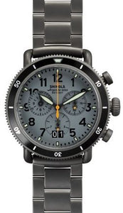 RUNWELL SPORT CHRONO CONTRAST 42MM PVD GUNMETAL SANDBLAST PLATING GREY DIAL 20MM BRACELET & BUCKLE