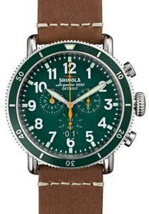 RUNWELL SPORT 48MM SS SHINEY PLATING GREEN DIAL 24MM BROWN STRAP