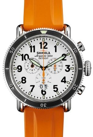 RUNWELL SPORT 48MM SS WH DIAL 24MM ORANGE RUBBER STRAP