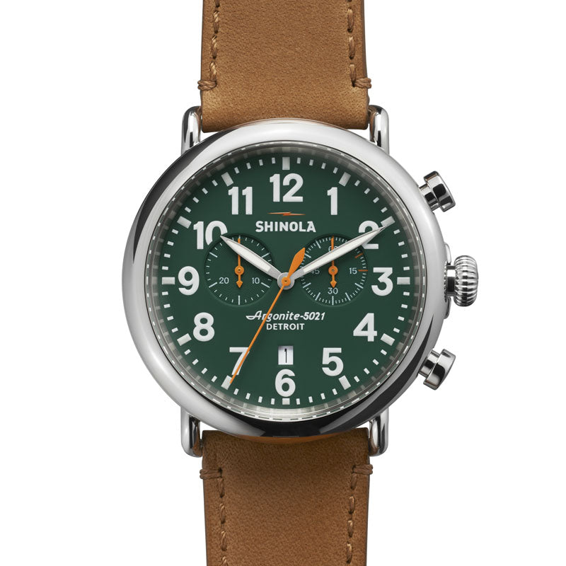 RUNWELL CHRONO 47MM SS MATTE GREEN DIAL 24MM DARK TAN STRAP 22MM BUCKLE