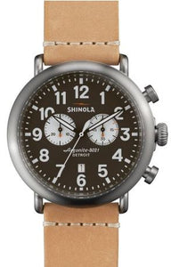 RUNWELL 2 EYE CHRONO 47MM W BROWN /GRAY DIA NATURAL LEATHER STRAP