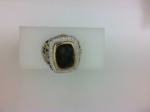 ss/18kt .25ct tw dia spinel ring