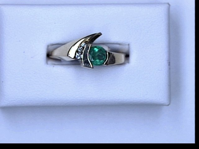 14KT EMERALD DIAMOND RING 5MM