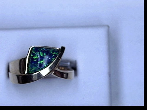 14KT CREATED OPAL RING