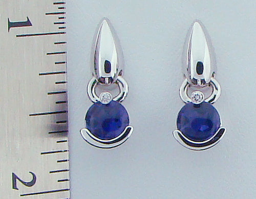 18KT WG IOLITE DIA EARRINGS