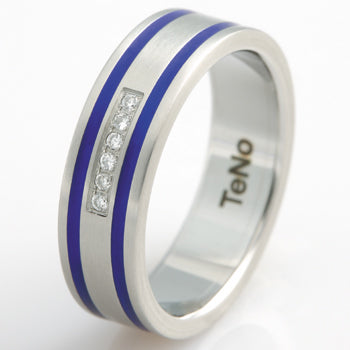 TAMOR W .05CT DIA PAVEE CENTER W 2 BLUE CERAMICE ALL AROUN