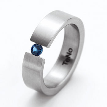 YUNIS W .20CT BLUE SAPPHIRE TENSION SET RING