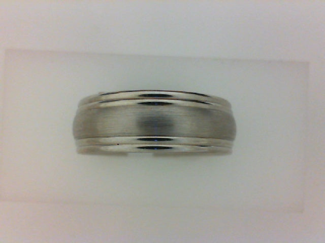 14KT WG 7.5MM DBLE RE SATIN CENTER