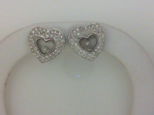 14KT WG .61CT TW DIAMOND HEART LEVER BACK EARRINGS