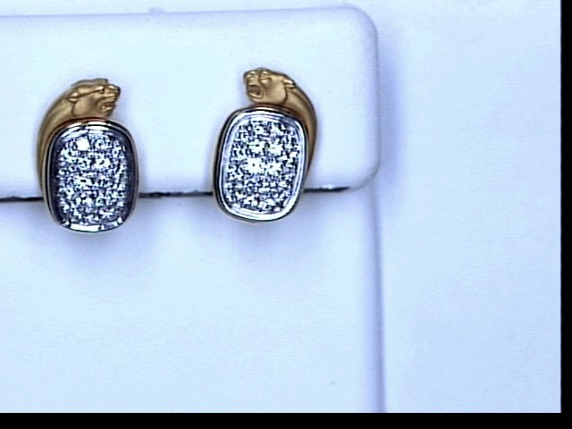 18KT YG PAVE DIA PANTHER EARRINGS