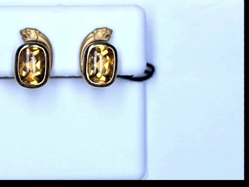 18KT YG CITRINE PANTHER EARRINGS
