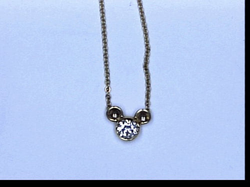 18KT YG .51CT TW DIA MICKEY MOUSE ICON NECKLACE