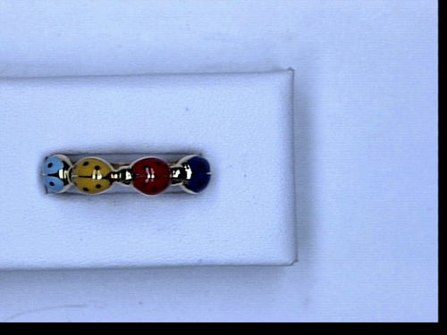 18K YG MULTICOLOR LADYBUG RING PINK BLUE YELLOW GREEN