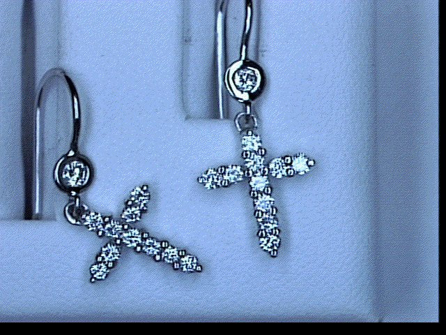 PLAT .36CT DIAMOND CROSS EARRINGS FRENCH HOOK