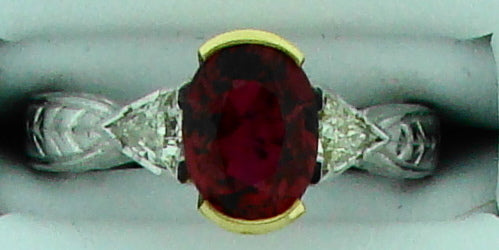 18KT PLT 2.49CT TW RED SPINAL W .85CT TW DIAMOND RING