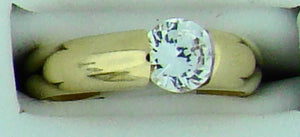 14KT YG TENSION RING W CZ CENTER