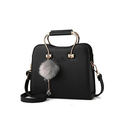 Charming Wrist/Crossbody Handbag w/fur keychain