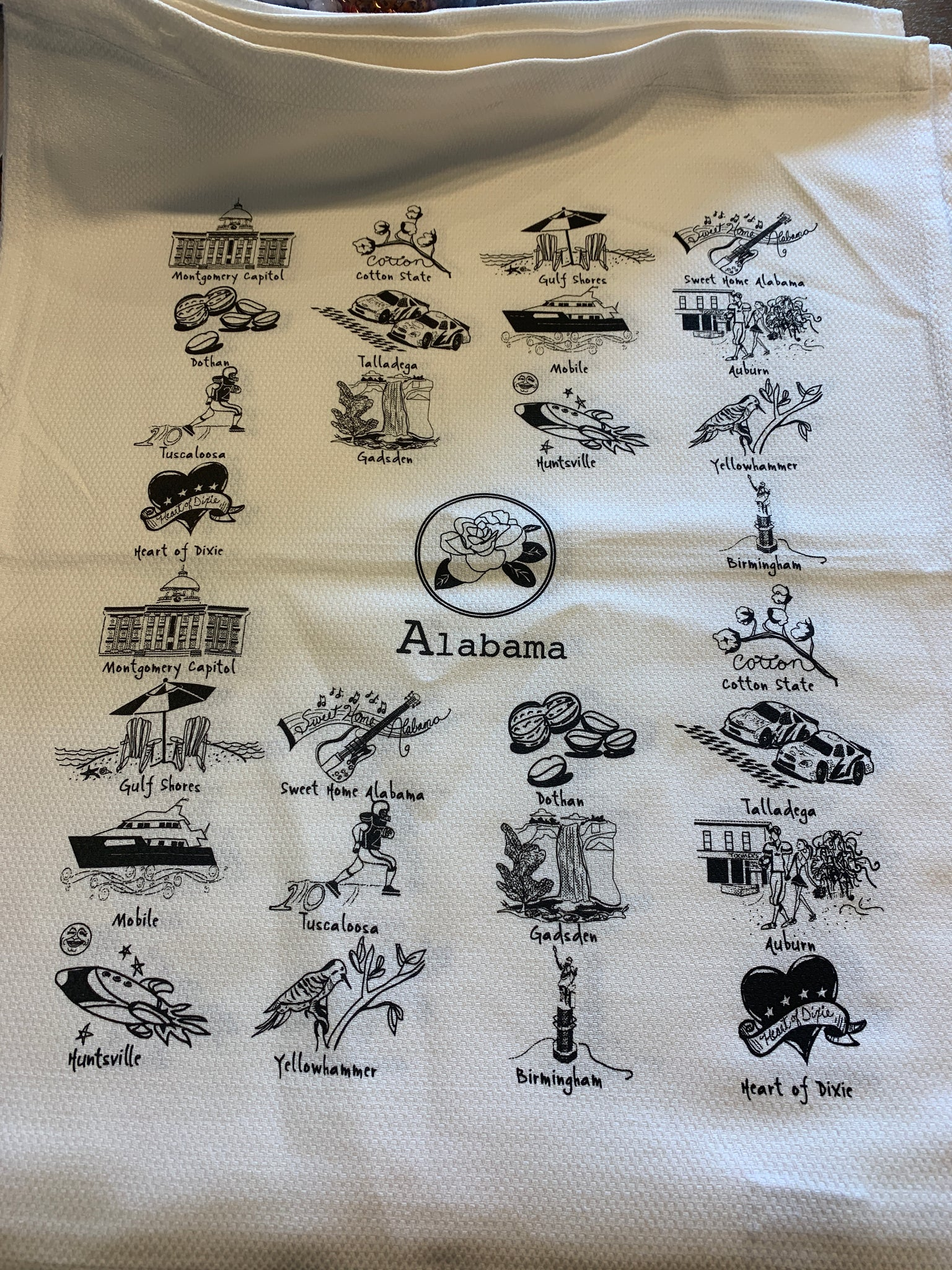 Alabama tea towel- white and black