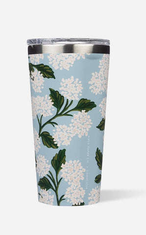 Blue hydrangea rifle/Corkcicle tumbler