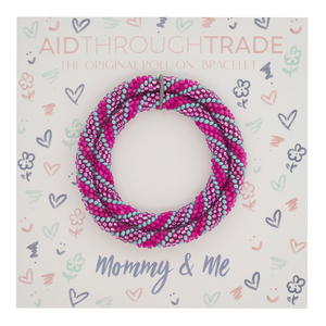 Mommy & Me Bracelet set- Pink and teal