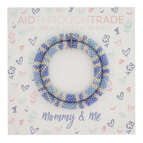 Mommy & Me Bracelet Set- blue & silver