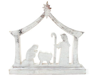 White wooden nativity