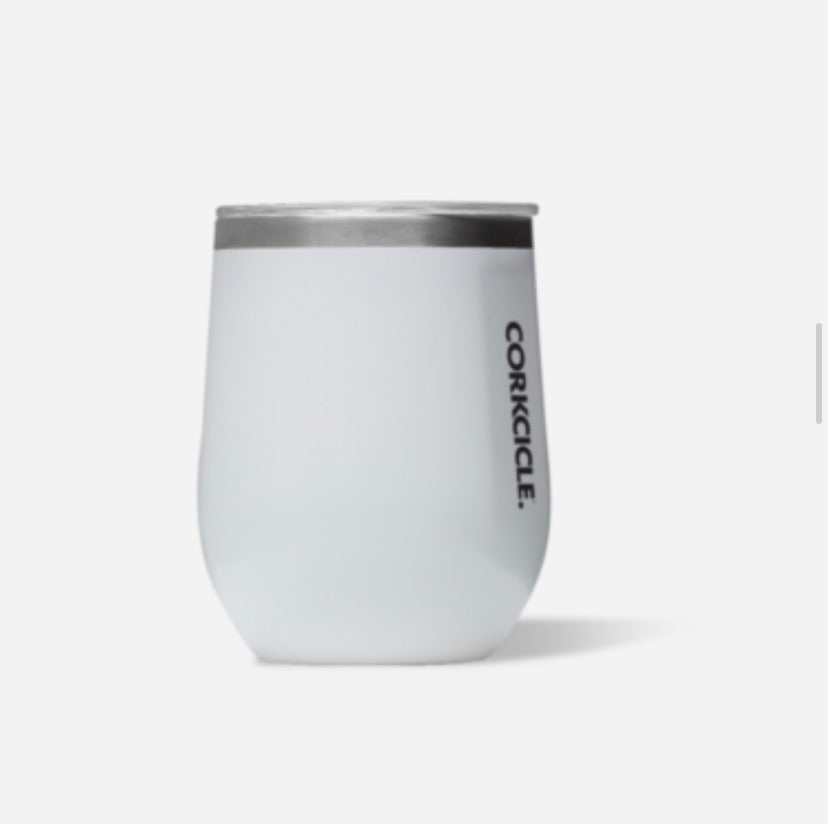 Corkcicle 12oz stemless gloss white
