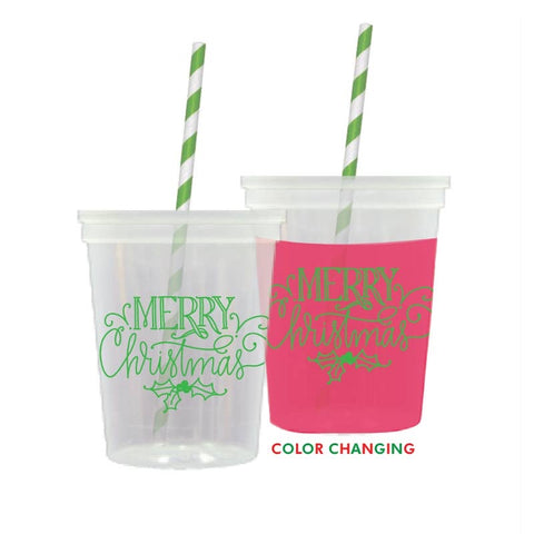 Green Script Merry Christmas color changing cups with lid & straw