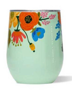 Teal floral rifle stemless corkcicle