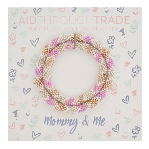 Mommy & Me Bracelet Set- pink, gold & silver