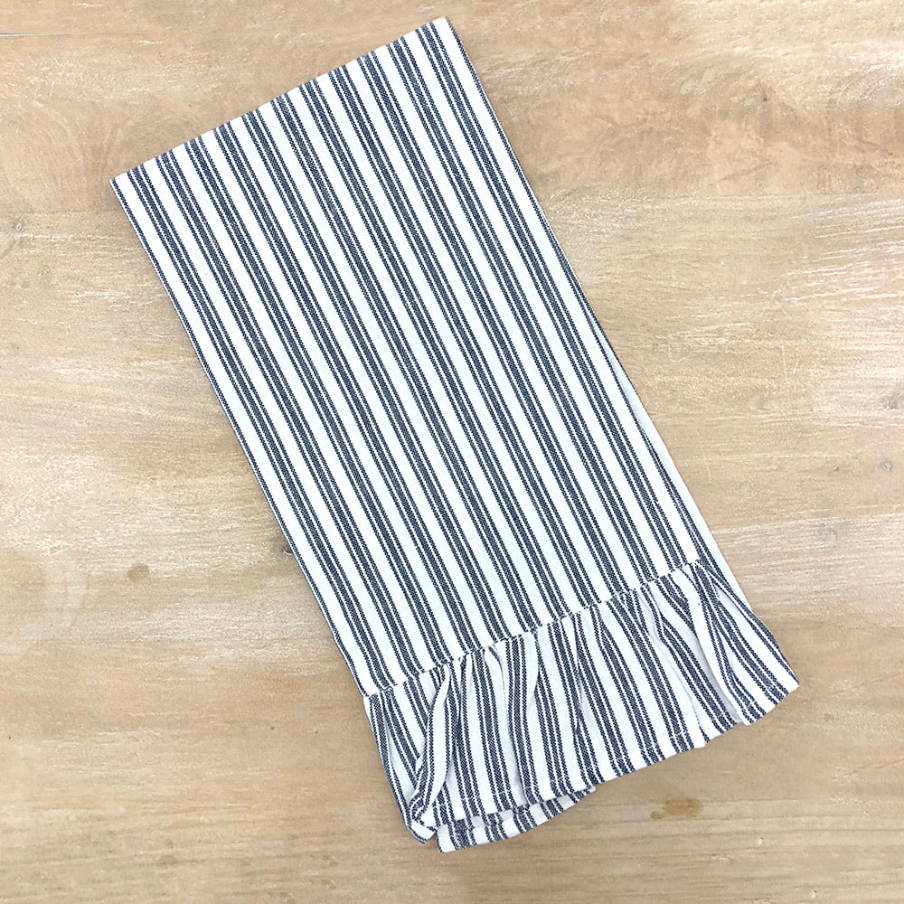 Blue striped hand towel with ruffle