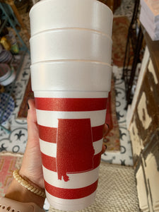 Styrofoam Alabama cups (set of 12)