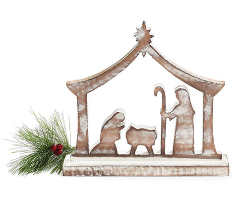 Wooden brown nativity