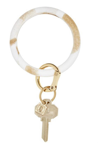 Rubber gold marble oventure keyring