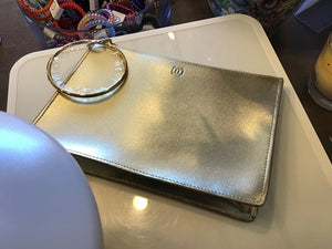 Oventure gold leather wristlet