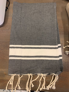 Turkish dish towel dark gray with white stripe