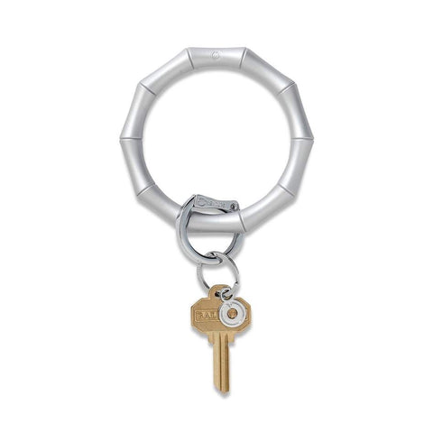 Rubber Metallic Silver Bamboo Oventure Key Ring
