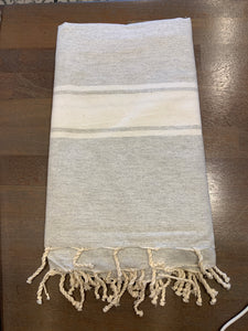 Turkish towel large light gray with white stripe