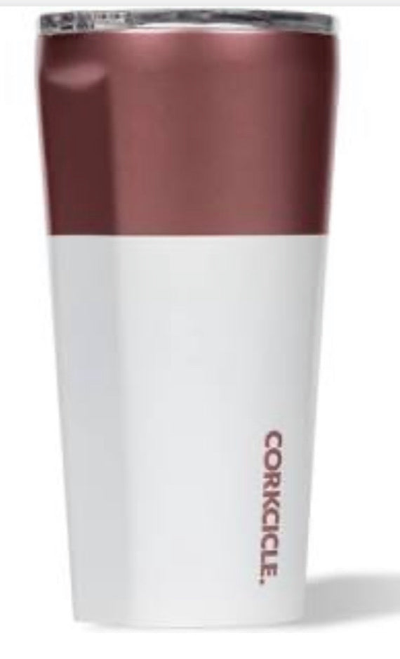 Rose gold and white Corkcicle 16oz