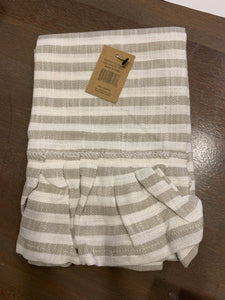 Cotton striped tea towel- taupe