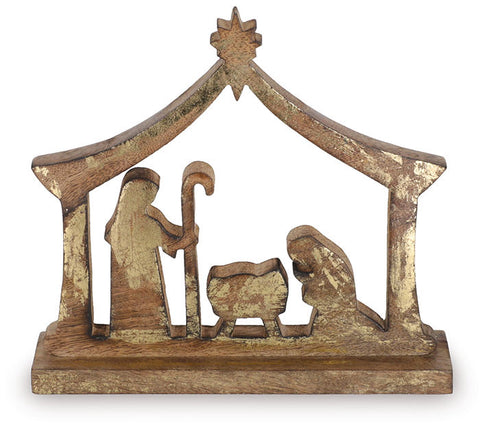 Gold and brown wooden nativity