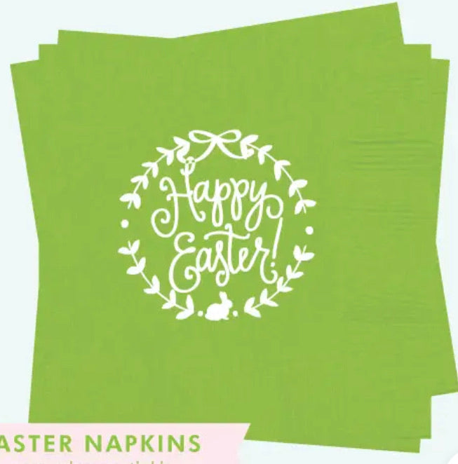Green Happy Easter Napkins
