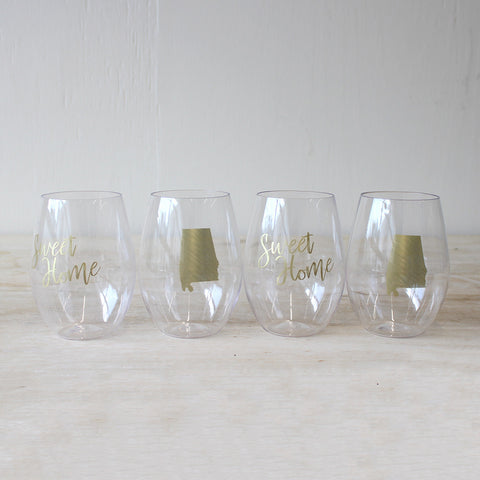 Home sweet home wine set of 4
