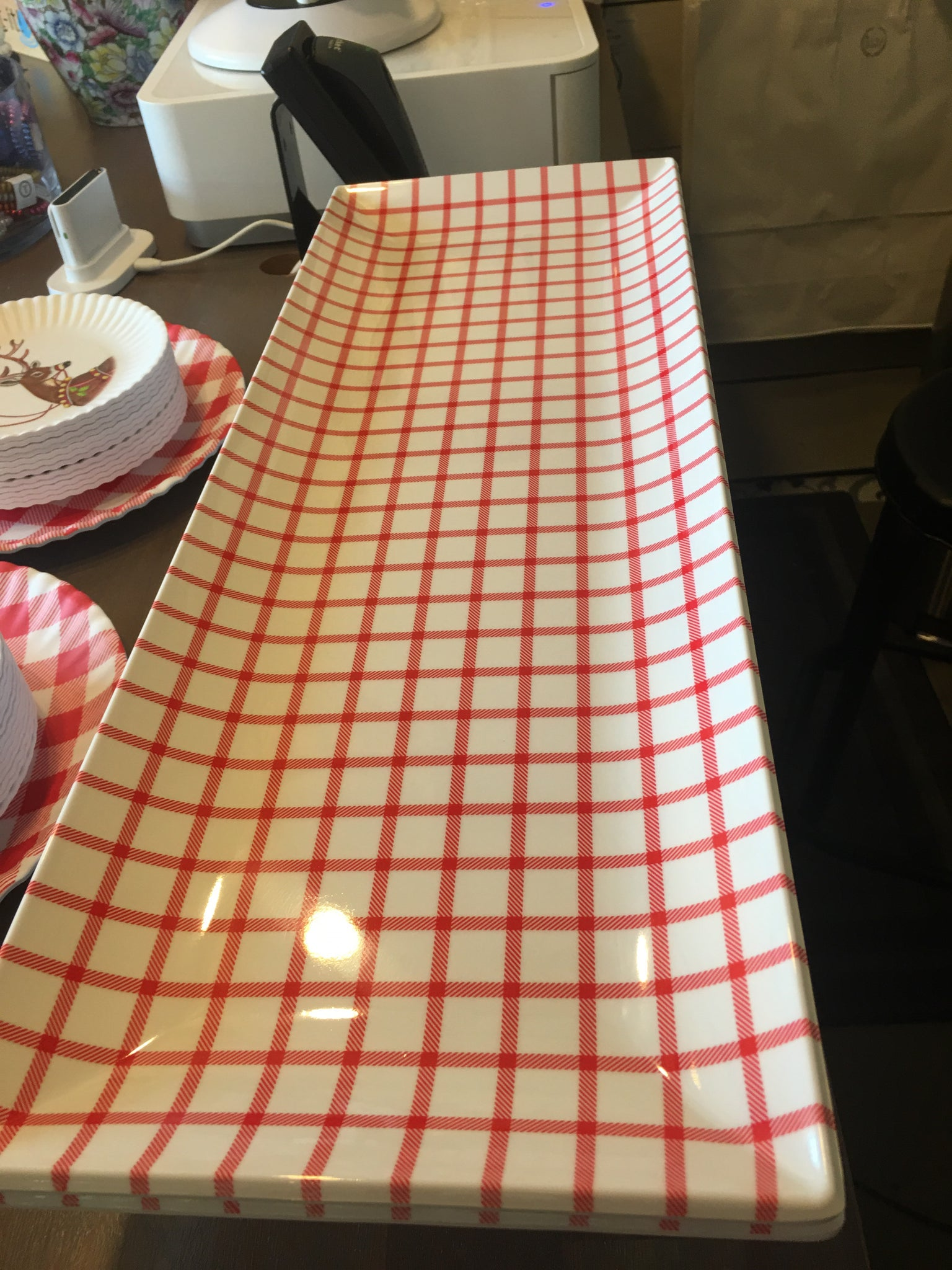 Red gingham platter rectangle