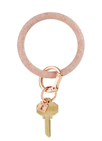 Rubber rose gold sparkle oventure key ring