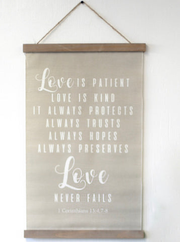 Love Never Fails Hanging Decor